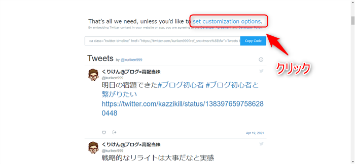 Twitter 「set customization options」クリック