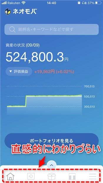 ネオモバ(SBIネオモバイル証券) アプリホーム画面